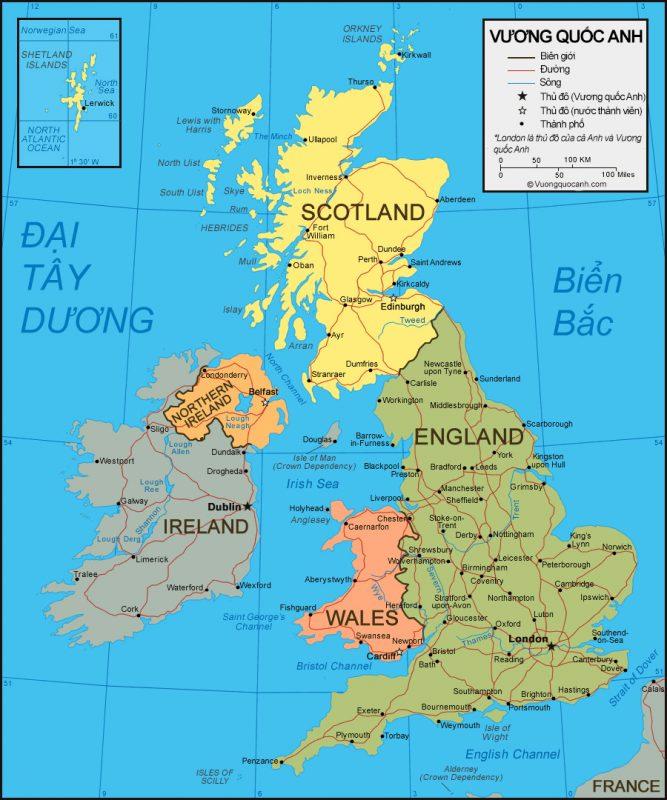 Bản đồ địa hình Vương quốc Anh